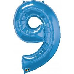 9-es Szám Formájú Héliumos Fólia Lufi - Zafír Kék - 86 cm