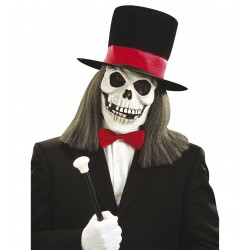 Csontváz maszk parókával, kalappal