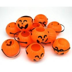 Tökfejes Narancssárga Műanyag Vödör Szett Halloweenre 8 db-os 6 cm