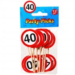 Szülinapi party falatka pálcika 40-es számos12 db-os