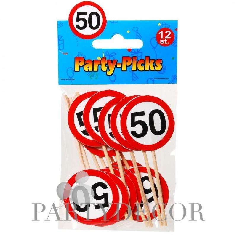 Szülinapi party falatka pálcika 50-es számos 12 db-os