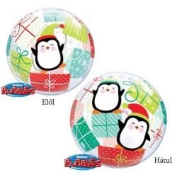 Pingvin és Karácsonyi Ajndékdobozok Bubble Lufi - 56 cm