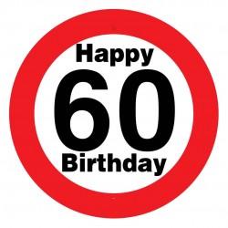 Sebességkorlátozós 60. születésnapi tábla, műanyag, 50 cm