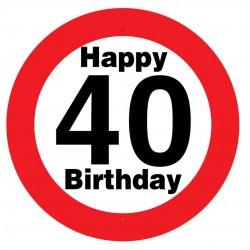 Sebességkorlátozós 40. születésnapi tábla, műanyag, 50 cm