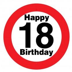 Sebességkorlátozós 18. születésnapi tábla, műanyag, 50 cm