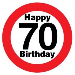 Sebességkorlátozós 70. születésnapi tábla, műanyag, 50 cm