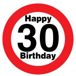 Sebességkorlátozós 30. születésnapi tábla, műanyag, 50 cm