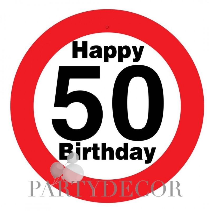 Sebességkorlátozós 50. születésnapi tábla, műanyag, 50 cm