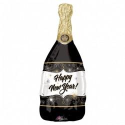 Happy New Year Fekete Pezsgősüveg Héliumos Fólia Lufi Szilveszterre