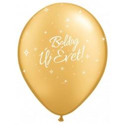 Arany Boldog Új Évet feliratos gumi lufi - 1 db