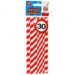 Papír parti szívószál 30. születésnapra, sebességkorlátozós, 12 db