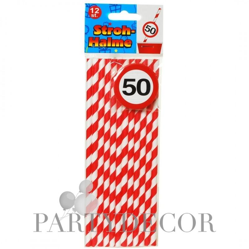 Papír parti szívószál 50. születésnapra, sebességkorlátozós, 12 db