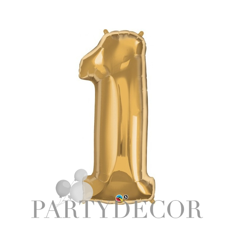 1-es Szám Formájú Héliumos Fólia Lufi - Arany - 86 cm