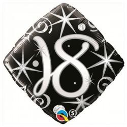 18-as Elegáns Fekete-Ezüst Héliumos Fólia Lufi