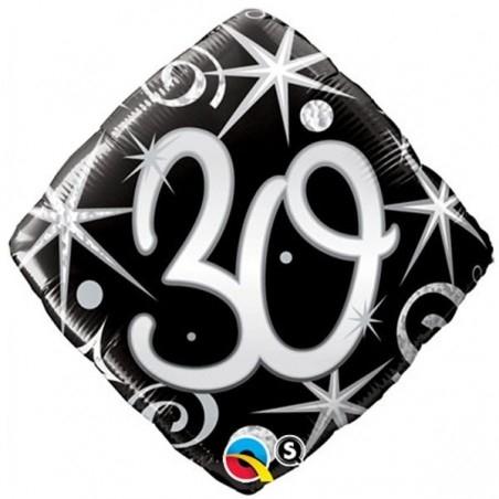 30-as Elegáns Fekete-Ezüst Héliumos Fólia Lufi