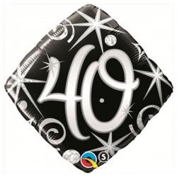 40-es Elegáns Fekete-Ezüst Héliumos Fólia Lufi