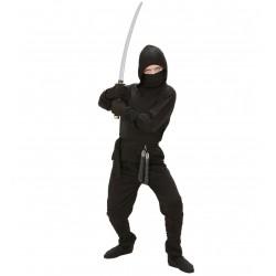 Fekete Ninja jelmez 5-7 éveseknek 128 cm-es