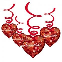 Szíves Szeretlek! Feliratos Szerelmes Függődekoráció - 6 db-os