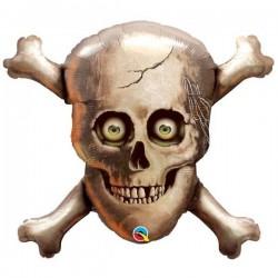 Koponya és Csontok Halloween Fólia lufi - 81 cm
