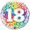 18-as Szivárvány Konfetti Mintás Szülinapi Héliumos Fólia Lufi