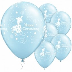 11 inch-es Christening Soft Giraffe Light Blue Lufi (6 db/csomag)