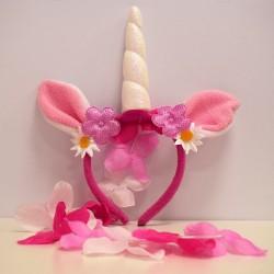 Unikornis fejdísz rózsaszín és fehér virágokkal