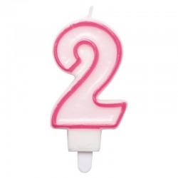 2-es Számos rózsaszínű Szülinapi Számgyertya Tartóval