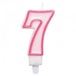 7-es Számos Rózsaszínű Szülinapi Számgyertya Tartóval