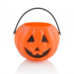 Műanyag Halloween Tök Cukorkatartó 12 cm-es