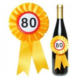 80. születésnapi parti kitűző üvegre rakható 14 cm x 7,5cm