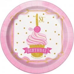 Első szülinapi pink-arany tányér kislánynak