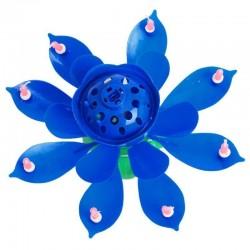 Szétnyíló virág alakú, zenélő tortagyertya  - kék