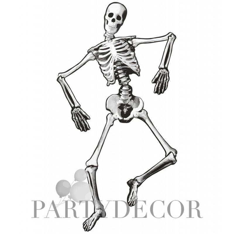 658547e0ba Mozgatható papír csontváz halloween dekoráció 134 cm
