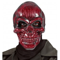 Piros metál koponya maszk Halloweenre
