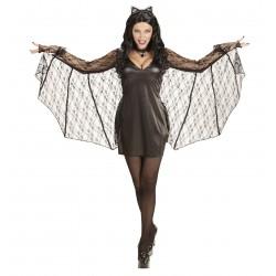 Női denevér ruha, köpeny és fejpánt (M) - Halloween jelmez