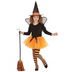 Boszorkány gyerek jelmez szett - tütü, szárny, kalap