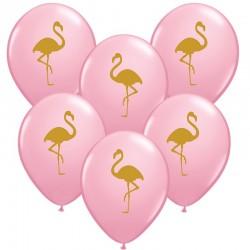 Flamingó mintás rózsaszínű gumi lufi 28 cm-es