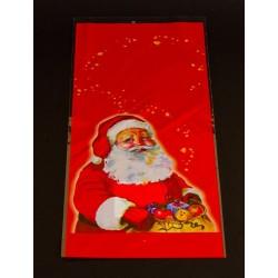 Mikulás tasak, piros színű,  Mikulás zsákjával motívummal 150 x 350 mm