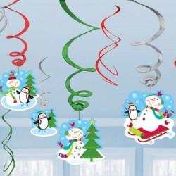 Hóemberes pirális karácsonyi dekoráció - 12 db-os