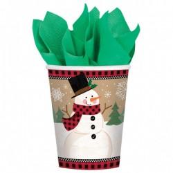 Joyful Snowman Parti Pohár Karácsonyra - 270 ml, 8 db-os