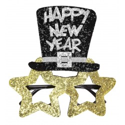 Szilveszteri arany csilag parti szemüveg Happy New Year felirattal