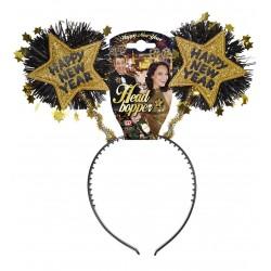 Szilveszteri fejdísz arany csilagokkal Happy New Year felirattal