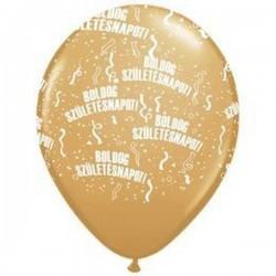 Boldog zzületésnapot arany lufi  28 cm-es