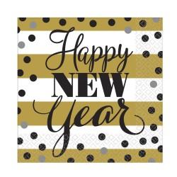 Happy New Year Mintás Parti Szalvéta Szilveszterre - 33 cm x 33 cm, 16 db-os
