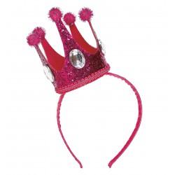 Rózsaszín királynő korona ékkövekkel hajpánton