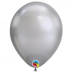 Metál ezüst kerek lufi 28 cm  (6 db/csomag)