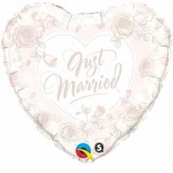 Esküvői pasztell színű rózsás héliumos lufi - Just Married