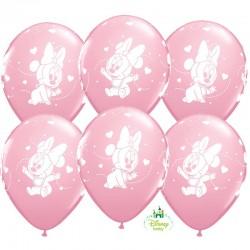 Bébi Minnie rózsaszín lufi babaszületésre - 6db/csomag 28 cm