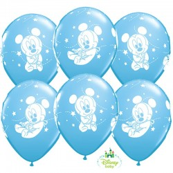 Bébi Mickey egeres kék lufi babaszületésre - 6db/csomag 28 cm