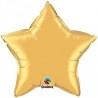 Arany színű csillag alakú héliumos fólia lufi